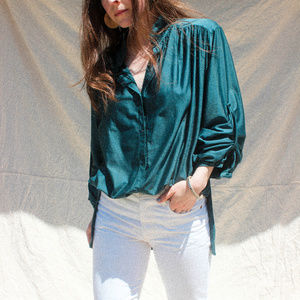 Vintage Oversized Teal Button Up Blouse